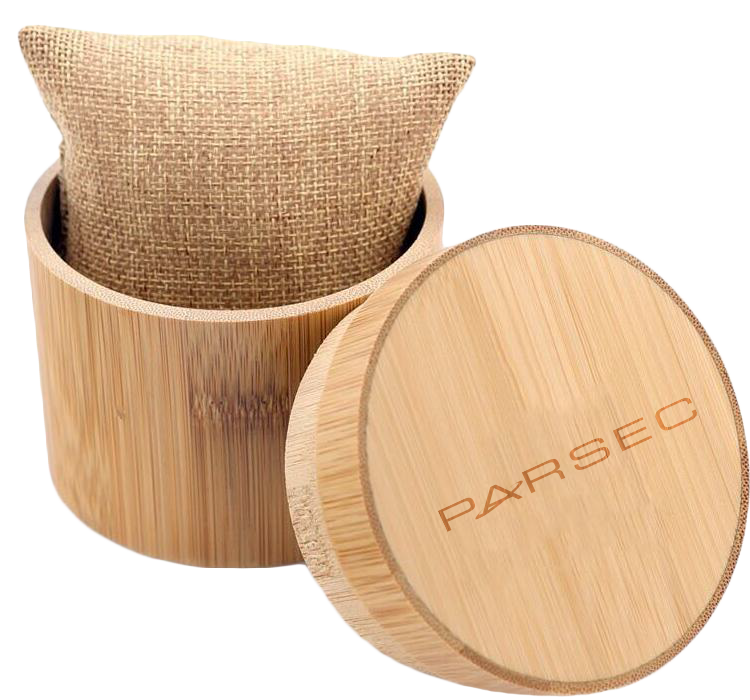 Parsec Watches Wooden watch round bamboo case